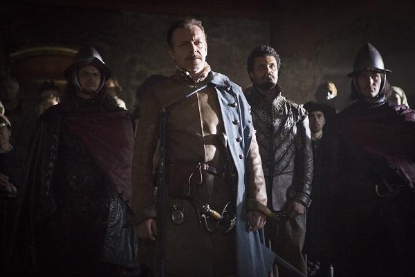 Captain Treville (HUGO SPEER), Porthos (HOWARD CHARLES) - Image Credit: BBC/Larry Horricks