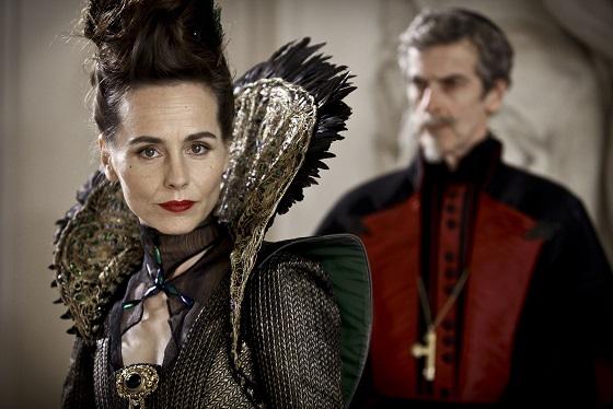 The Musketeers: Marie De Medici (Tara Fitzgerald) and Cardinal Richelieu (Peter Capaldi) - Image Credit: BBC/Dusan Martincek
