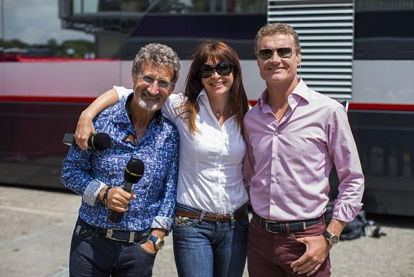 BBC F1 2014 Presenters: Eddie Jordan, Suzi Perry and David Coulthard - Image Credit: BBC/Peter J Fox