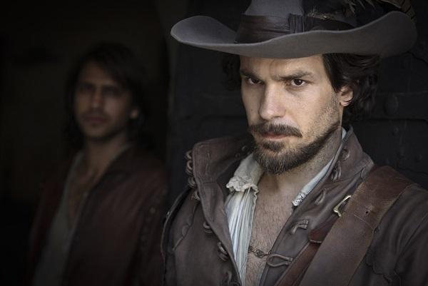 D'Artagnan (LUKE PASQUALINO), Aramis (SANTIAGO CABRERA) - Image Credit: BBC/Dusan Martincek