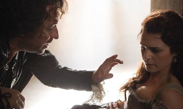 Sarazin (SEAN PERTWEE) with Constance Bonacieux (TAMLA KARI) in the final episode of The Musketeers, series 1 - Image Credit: BBC/Dusan Martincek