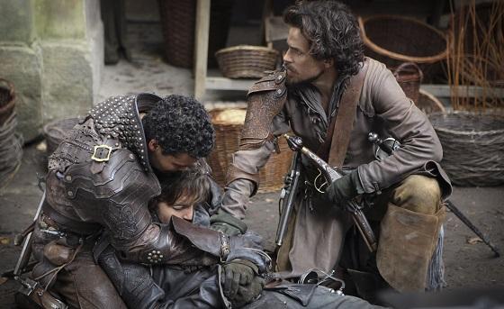 Porthos (HOWARD CHARLES), Athos (TOM BURKE), Aramis (SANTIAGO CABRERA) - Image Credit: BBC/Dusan Martincek