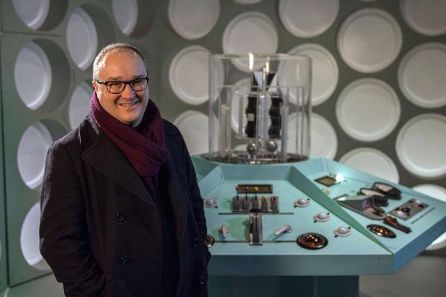 Presenter, with TARDIS interior. Dominic Sandbrook - Image Credit: BBC/Chloe Penman