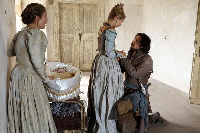 Aramis and Queen Anne: Marguerite (CHARLOTTE SALT), Queen Anne (ALEXANDRA DOWLING) and Aramis (SANTIAGO CABRERA) - Image Credit: BBC/Dusan Martinek