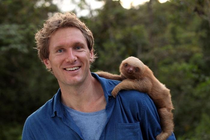 Max Hug Williams with baby 3 toed sloth Newbie - Image Credit: BBC NHU