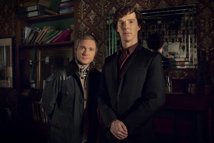 Dr John Watson (MARTIN FREEMAN) and Sherlock Holmes (BENEDICT CUMBERBATCH) - Image Credit: BBC/Hartswood Films/Robert Viglasky
