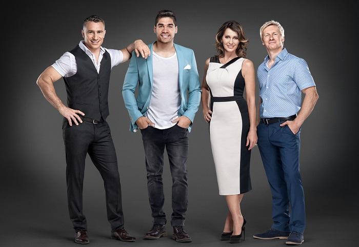 The Tumble BBC Judges: Sebastien Stella, Louis Smith, Nadia Comaneci and Craig Heap - Image Credit: BBC. Photographer: Colin Bell
