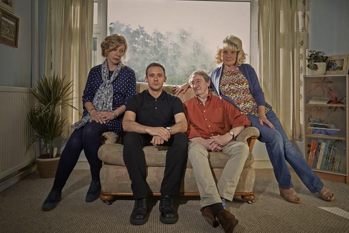 Nurse BBC2 cast: Nurse Liz (Esther Coles), Jack (Jason Maza), David (Paul Whitehouse) and Sheila (Sue Elliot Nichols) - Image Credit: BBC/Hal Shinne