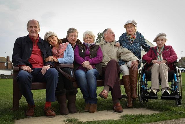 John (RUSS ABBOT), Maureen (STEPHANIE BEACHAM), Alan (PHILIP JACKSON), Joyce (ALISON STEADMAN), Trevor (JAMES SMITH), Carol (PAULA WILCOX) and Joan (JUNE WHITFIELD) - Image Credit: BBC/Hattrick. Photographer: Jack Barnes