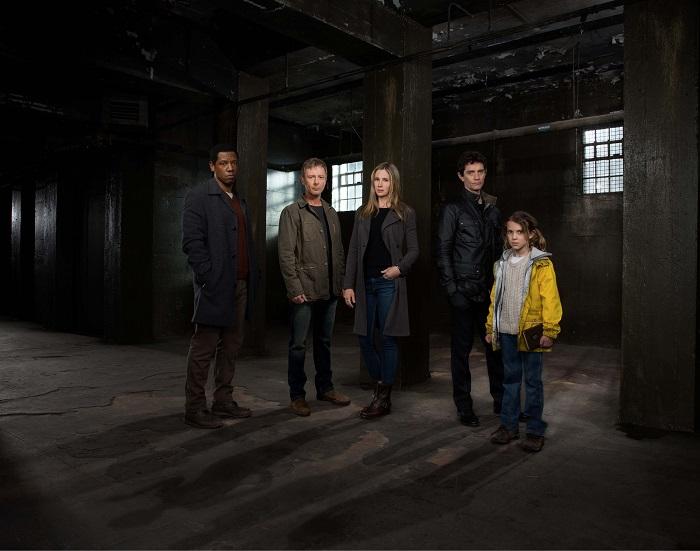 Intruders lead cast from left to right: Gary Fischer (TORY KITTLES), Jack Whelan (JOHN SIMM), Amy Whelan (MIRA SORVINO), Richard Shepherd (JAMES FRAIN) and Madison (MILLIE BROWN) - Image Credit: BBC AMERICA