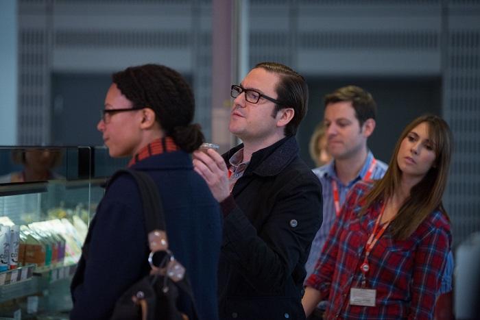 Lucy Freeman (NINA SOSANYA) and David Wilkes (RUFUS JONES) alongside The One Show's Alex Jones and Matt Baker - Image Credit: BBC/Jack Barnes