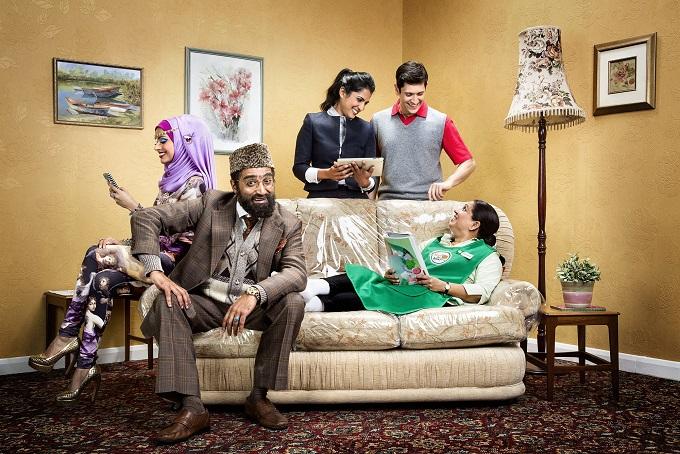 Citizen Khan Season 3 Cast, 2014: Alia (BAVNA LIMBACHIA), Mr Khan (ADIL RAY), Shazia (MAYA SONDHI), Amjad (ABDULLAH AFZAL) and Mrs Khan (SHOBU KAPOOR) - Image Credit: BBC. Photographer: Jay Brooks