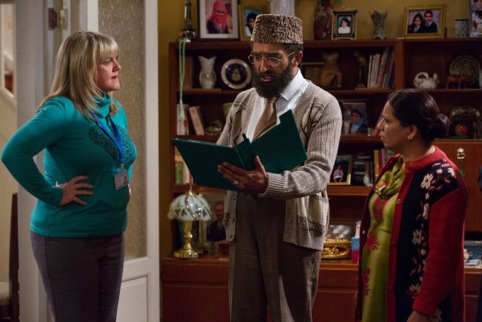 Citizen Khan Season 3 Cast, 2014: Sam Wallis (SALLY LINDSEY), Mr Khan (ADIL RAY) and Mrs Khan (SHOBU KAPOOR) - Image Credit: BBC. Photographer: Matt Squire