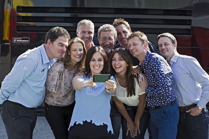 The BBC F1 TV and Radio Team: James Allen, Jennie Gow, David Coulthard, Lee McKenzie, Eddie Jordan, Suzi Perry , Tom Clarkson, Allan McNish and Ben Edwards - Image Credit: BBC/Peter J Fox