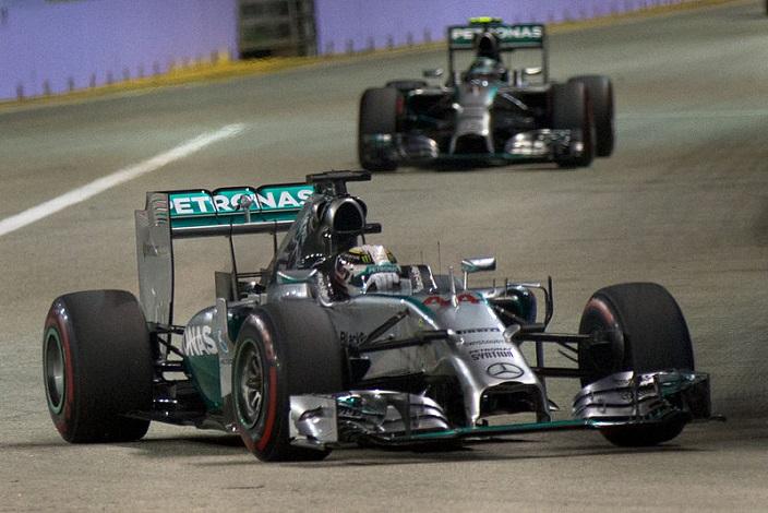 Lewis Hamilton in his Mercedes - Photo by Morio (Sourced via Wikimedia)