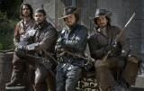 The Musketeers Cast: D'Artagnan (LUKE PASQUALINO), Porthos (HOWARD CHARLES), Athos (TOM BURKE) and Aramis (SANTIAGO CABRERA) - Image Credit: BBC/Dusan Martincek